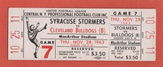 1963 UFL Cleveland Bulldogs at Syacuse Stormers ticket stub