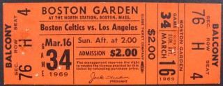1969 NBA Lakers at Celtics ticket stub 25