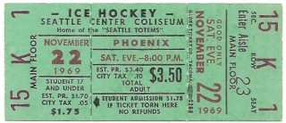 1969 WHL Phoenix Roadrunners at Seattle Totems 12.95