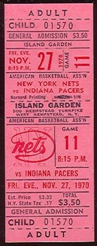 1970 ABA Pacers at Nets ticket stub 7