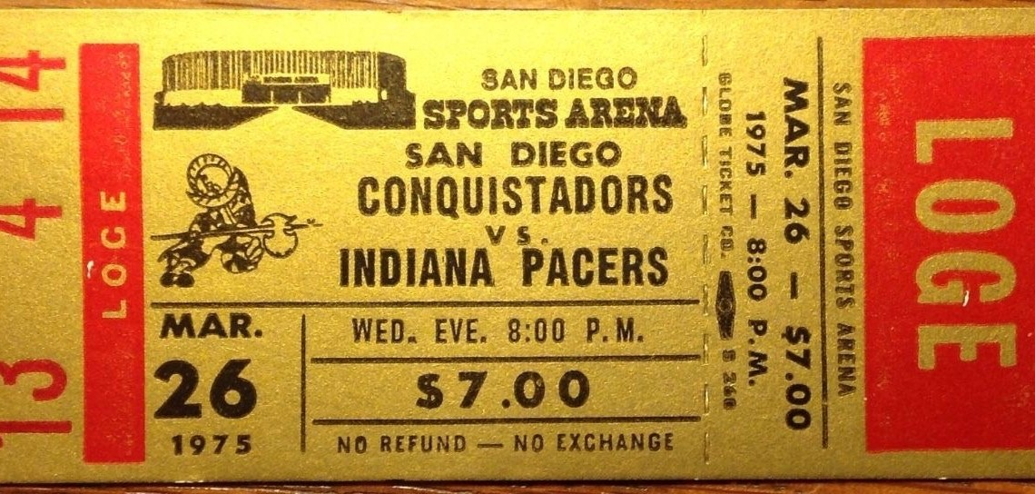 1973 ABA Pacers at Conquistadors ticket stub 34