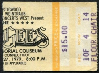 1979 Bee Gees ticket stub from New Haven Memorial Coliseum 60