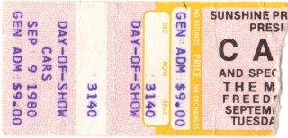1980 The Cars The Motels Freedom Hall Louisville ticket stub 10