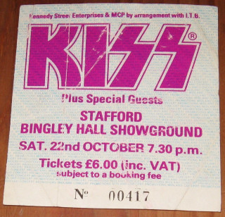1983 Kiss Stafford Bingley Hall Showground ticket stub 3.50