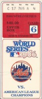 1986 World Series Game 6 ticket stub Red Sox vs Mets