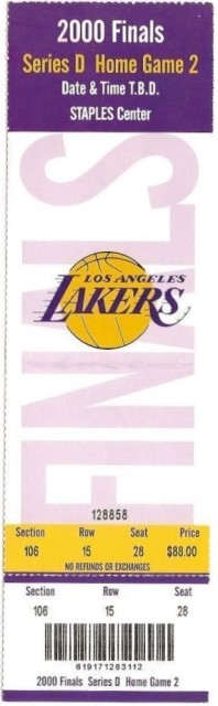 2000 NBA Finals Game 2 Pistons at Lakers ticket 125