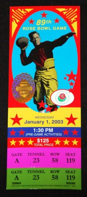 2003 Rose Bowl Oklahoma vs Washington State ticket stub