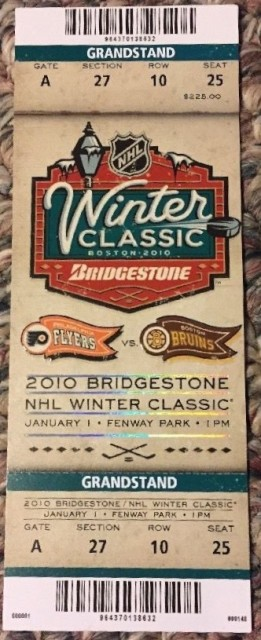 2010 Winter Classic Flyers at Bruins ticket stub 122
