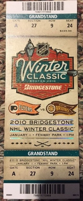 2010 Winter Classic Flyers at Bruins ticket stub 96