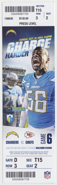 2014 San Diego Chargers ticket stub vs Chiefs for sale