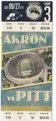 2014 NCAAF Akron at Pittsburgh ticket stub