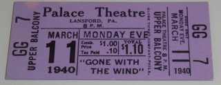 1940 Gone With the Wind full movie ticket