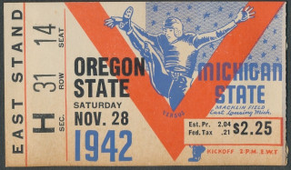1942 NCAAF Oregon State at Michigan State ticket stub 40