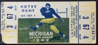 1943 NCAAF Notre Dame at Michigan full ticket