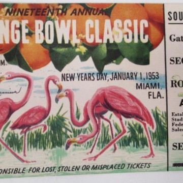1953 Orange Bowl Alabama vs Syracuse ticket stub 50