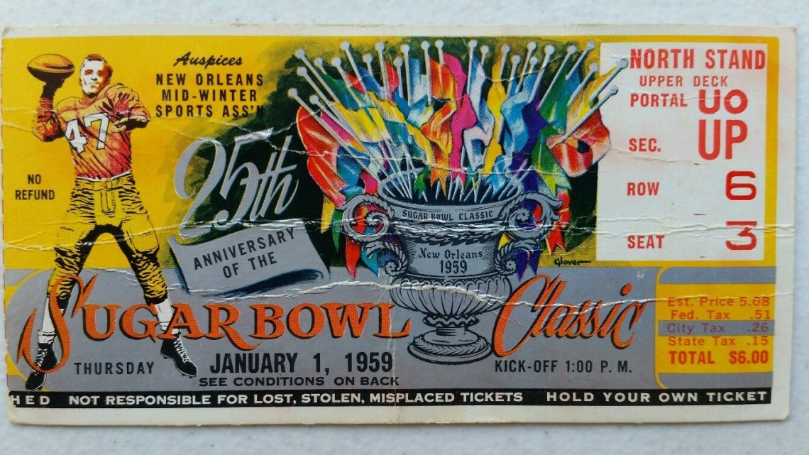 1959 Sugar Bowl LSU vs Clemson ticket stub 89