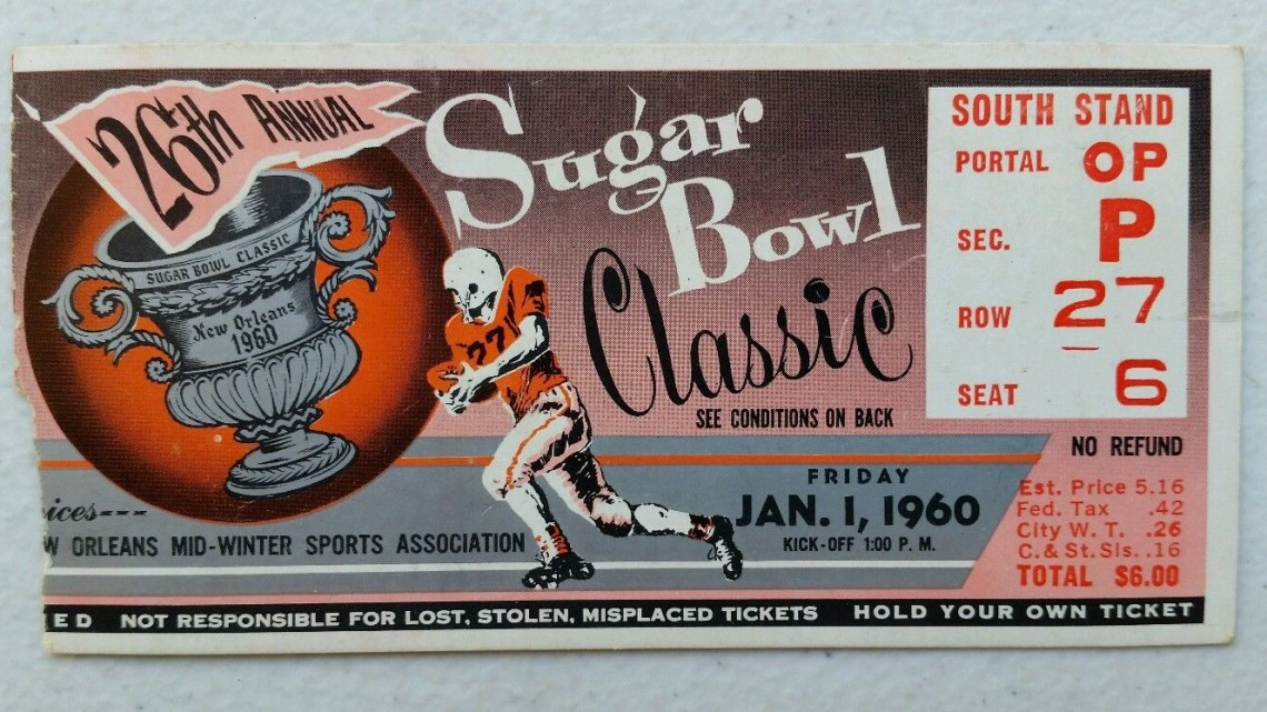 1960 Sugar Bowl LSU vs Mississippi ticket stub 40