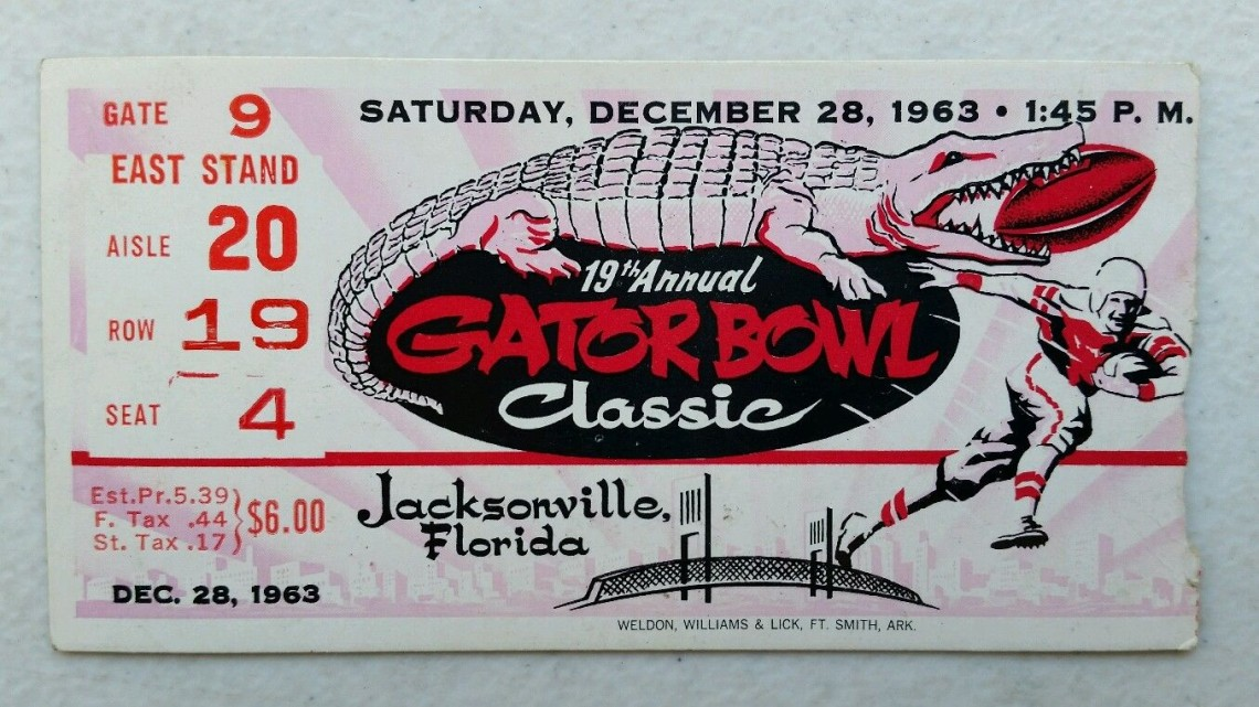 1963 Gator Bowl Air Force vs North Carolina ticket stub 15
