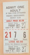 1967 Phoenix Roadrunners ticket stub vs Cleveland