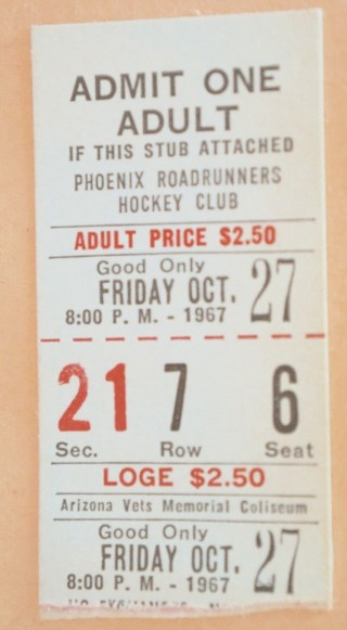 1967 WHL AHL Barons at Roadrunners ticket stub