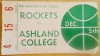 1974 NCAAMB Ashland College at Toledo ticket stub