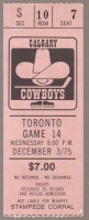 1975 WHA Toronto Toros at Calgary Cowboys ticket stub