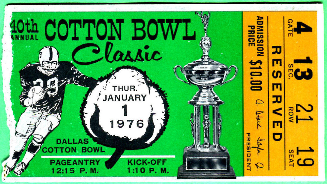 1976 Cotton Bowl Arkansas vs Georgia ticket stub 15