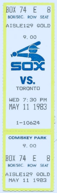 1983 Blue Jays at White Sox ticket stub