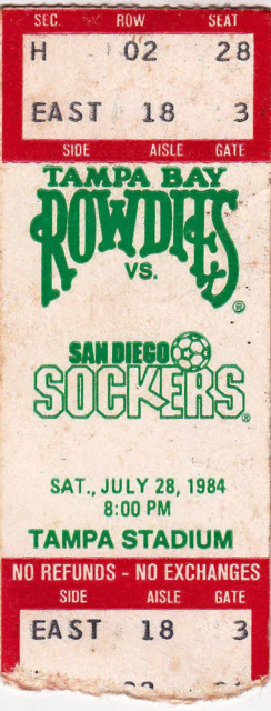 1984 Tampa Bay Rowdies ticket stub vs San Diego Sockers