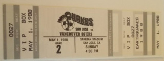 1988 NASL Vancouver 86ers at San Jose Earthquakes ticket stub