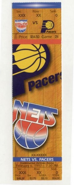 1997 NBA Pacers at Nets ticket stub