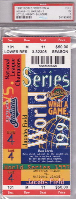 1997 World Series Game 4 ticket Indians at Marlins