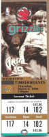 1999 NBA Timberwolves at Grizzlies ticket stub