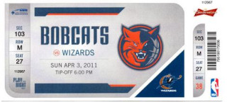 2011 NBA Wizards at Bobcats ticket stub