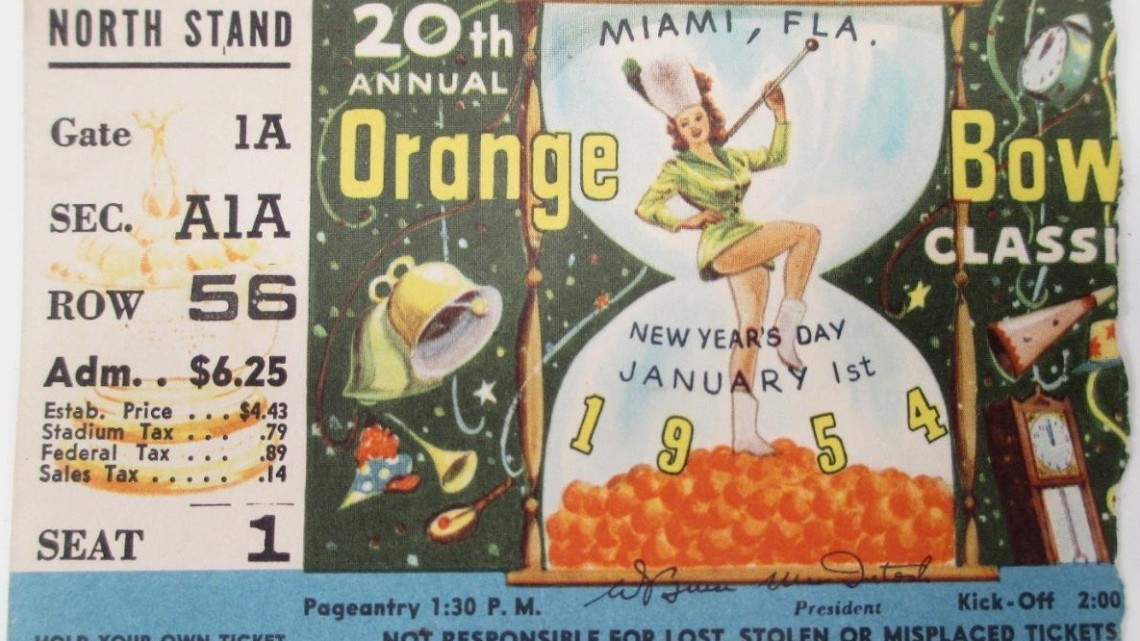 1954 Orange Bowl Maryland vs Oklahoma ticket stub 30