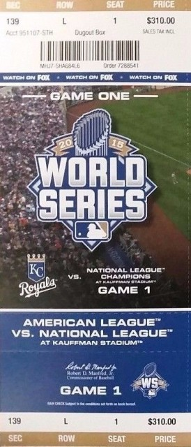 2015 World Series Game 1 Mets at Royals ticket stub 35