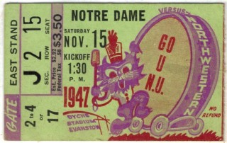 1947 NCAAF Notre Dame at Northwestern ticket stub 41.50