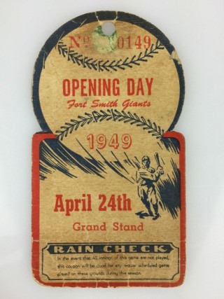 1949 MiLB Muskogee Reds at Ft. Smith Giants ticket stub