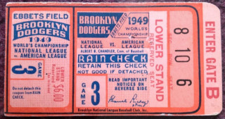 1949 World Series Game 3 Ticket Stub Yankees at Dodgers