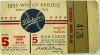 1953 World Series Game 5 ticket stub Yankees at Dodgers