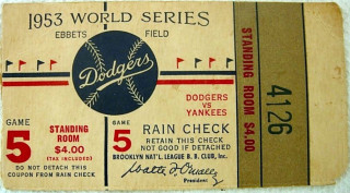 1953 World Series Game 5  Yankees at Dodgers Ticket Stub 214