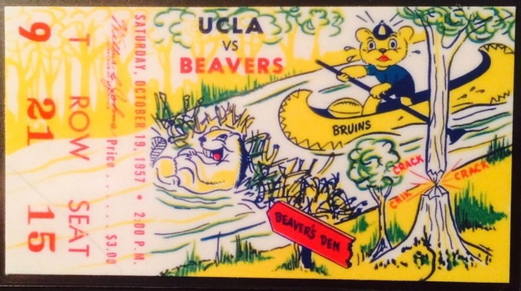 1957 NCAAF Oregon State at UCLA ticket stub