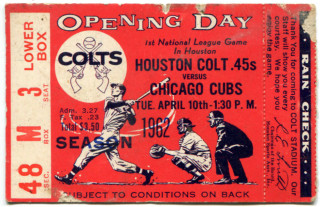 1962 MLB Cubs at Colt 45's Opening Day Ticket Stub 300