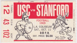 1969 NCAAF USC ticket stub vs Stanford