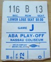 1972 ABA Championship Game 6 Pacers at Nets ticket stub