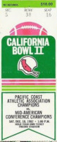 1982 California Bowl Bowling Green vs Fresno State ticket stub