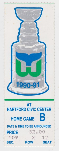 1991 NHL Playoffs Bruins at Whalers ticket stub