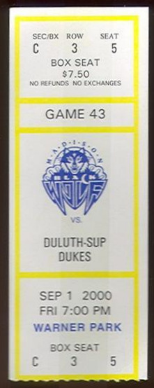 2000 Madison Black Wolf ticket stub vs Duluth Superior Dukes