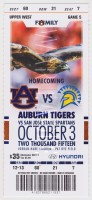 2015 NCAAF Auburn ticket stub vs San Jose State