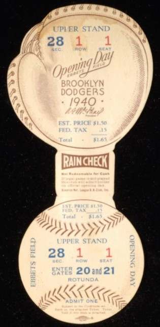 1940 Brooklyn Dodgers Opening Day full ticket 500